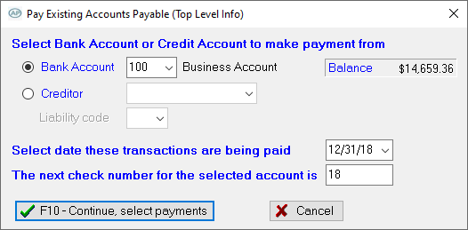 Pay Existing Accounts Payable
