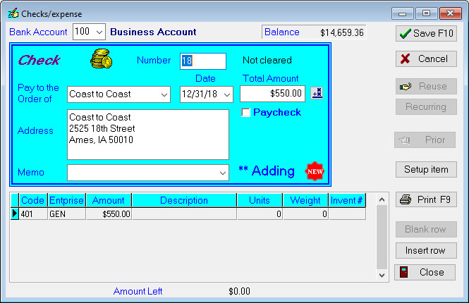 record & print checks using PcMars accounts payable